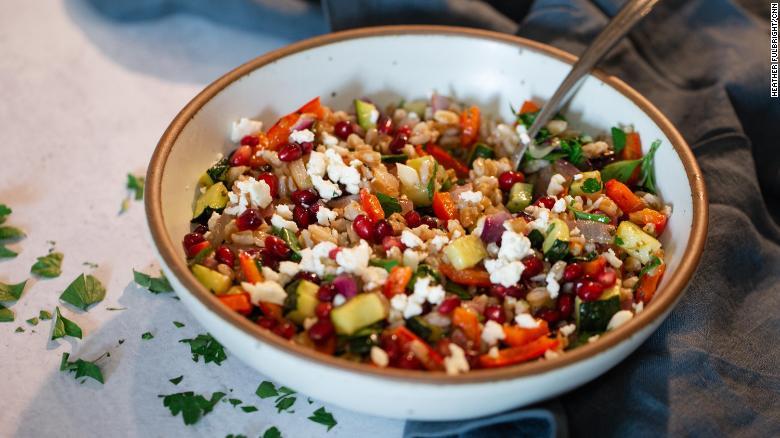 Warm Farro Grain Salad With Pomegranate