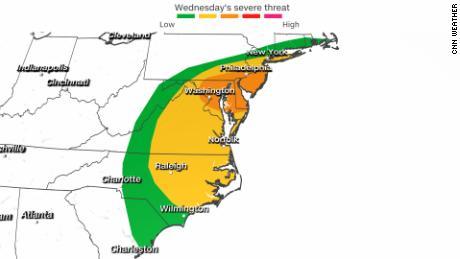 Un risque d'orages violents du centre de l'Atlantique au nord-est