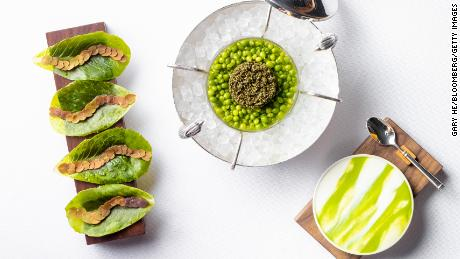 One of the items on the new vegan Eleven Madison Park menu: tonburi with pea cream and baby lettuce.
