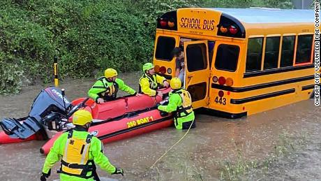 41 passengers were rescued from the school bus.