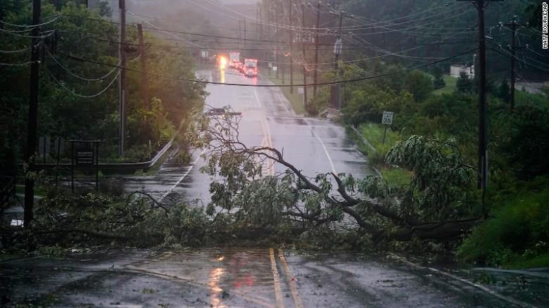 A downed tree blocks a road in Plymouth Meeting, Pennsylvania, on September 1.