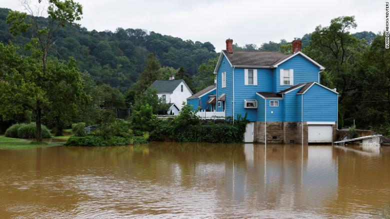 A house sits above floodwaters in Glenshaw, Pennsylvania, on September 1.