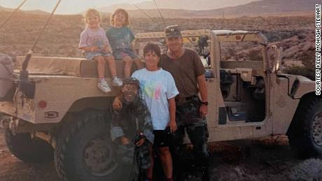 The McHugh family (left to right: Kristen, Kelly, Michael, Connie, and John) in Fort Irwin, California, 1994.