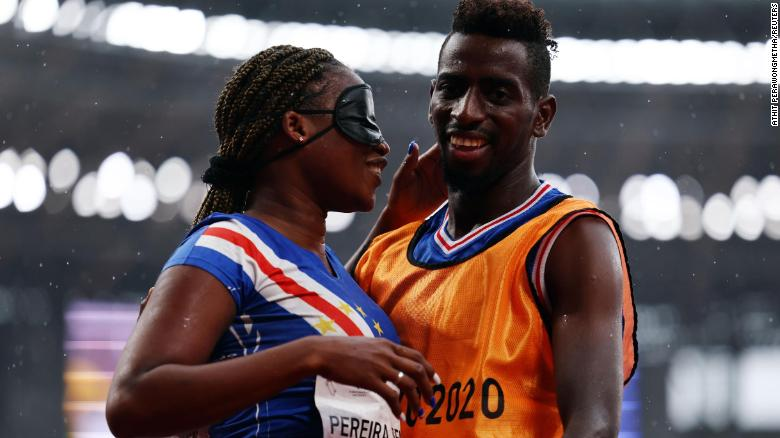 Visually impaired sprinter gets engaged on the track just minutes after Paralympics race