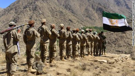 Anti-Taliban forces take part in military training in the Panjshir Valley, the last major holdout against Taliban rule, on Thursday.