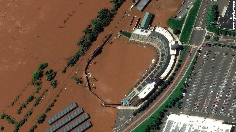 The stadium for the Somerset Patriots, a minor-league baseball team in Bridgewater Township, New Jersey, is partially flooded by overflow from the Raritan River on Thursday, September 2.