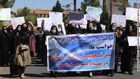 Women demonstrate for their rights in the city of Herat on September 2, 2021.
