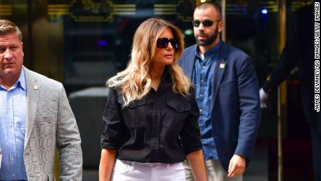 Former first lady Melania Trump leaves Trump Tower in Manhattan on July 7 in New York City.