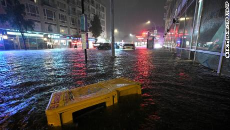 Stalled cars caught in flash flood are seen near Queens Boulevard after remnants of Hurricane Ida brought three inches of rain per hour across the city, in the New York City borough of Queens, NY, September 1, 2021.