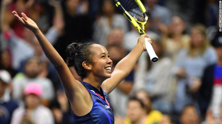 Canada's Leylah Fernandez celebrates after winning her third round match against Japan's Naomi Osaka.