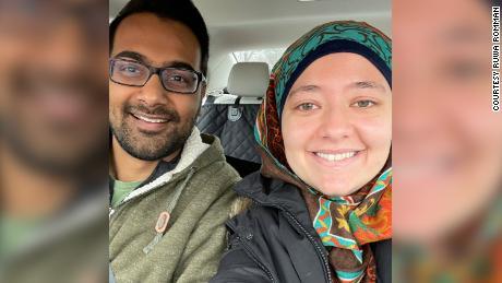 Ruwa Romman and her husband Shahzaib Jiwani.