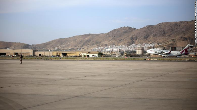 A Qatar Airways plane departs Kabul airport shortly after landing on September 3.