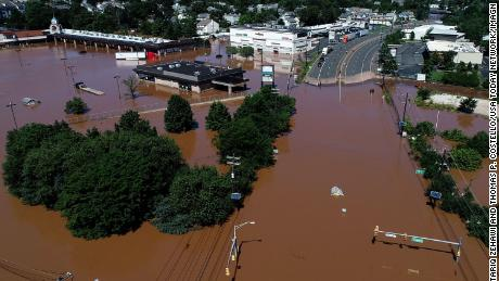 Route 206 and the Raritan Mall are flooded in Raritan, New Jersey, on September 2, 2021.