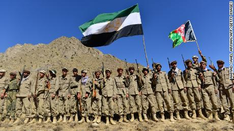 Afghan resistance movement and anti-Taliban uprising forces take part in a military training at Malimah area of Dara district in Panjshir province on September 2.
