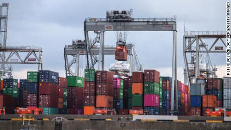Shipping containers and cranes on the quayside at the Port of Rotterdam in the Netherlands on July 29, 2021.