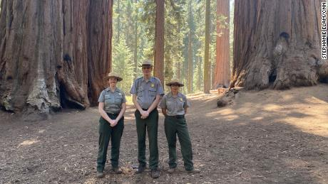From left, Rebecca Paterson, Superintendent Clay Jordan and Christy Brigham from Sequoia & King Canyons National Parks near monarch giant sequoias.