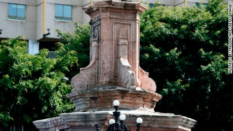 The pedestal where a statue of Christopher Columbus once stood is now empty in Mexico City.