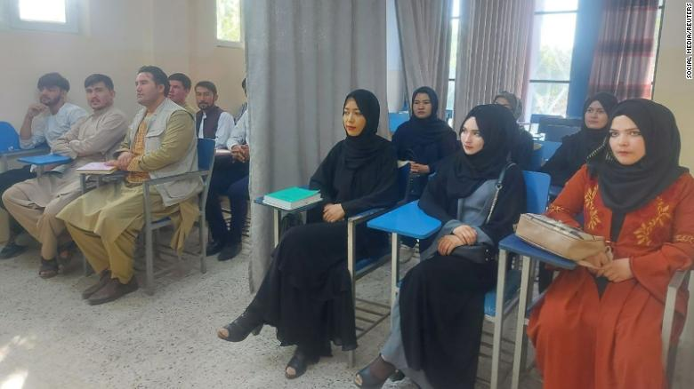 Students attend class at Avicenna University in Kabul, Afghanistan, on September 6, 2021, in this picture obtained by Reuters from social media.