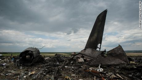 remains of a downed Ukrainian army plane is located in near Luhansk, Ukraine, in June 2014. Ukrainian officials said it was shot down by pro-Russian separatists, killing all 49 service personnel on board.