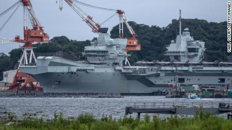 The British Royal Navy aircraft carrier HMS Queen Elizabeth is docked at Yokosuka Naval Base in Japan on September 5, 2021.