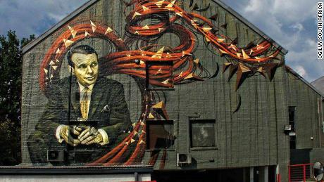 A mural of advertising agency founder David Ogilvy at the company's offices in Johannesburg.