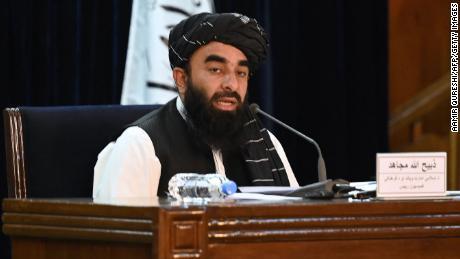 Taliban spokesman Zabihullah Mujahid addresses a news conference in Kabul on September 7, 2021.