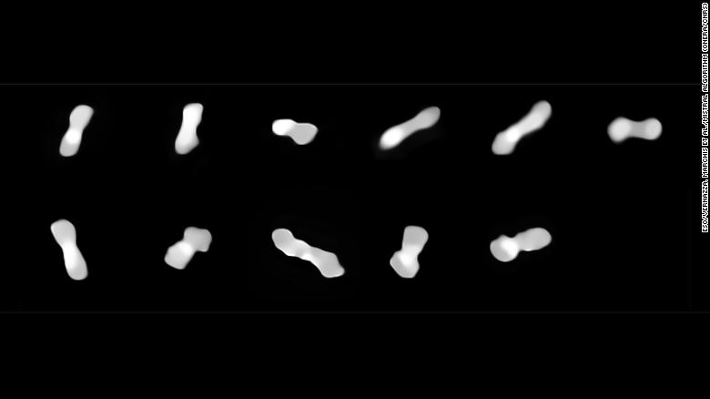 These 11 images show the asteroid Kleopatra, viewed at different angles as it rotates.