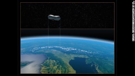 Hình ảnh này cung cấp sự so sánh về kích thước của tiểu hành tinh Cleopatra ở miền bắc nước Ý.