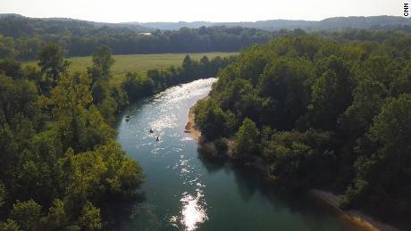 Tourists float down the Current River in Van Buren, Missouri.