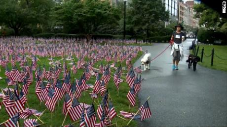 2,997 flags were planted in the 9/11 Garden of Remembrance.