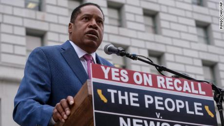 Republican gubernatorial candidate Larry Elder speaks during a news conference in Los Angeles earlier this month.