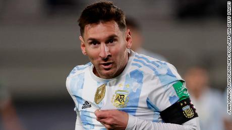 Messi celebrates scoring against Bolivia.
