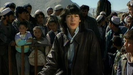 Christiane Amanpour is seen reporting from Afghanistan for CNN in the 1990s.