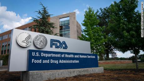 A sign for the Food and Drug Administration is seen outside of the headquarters on July 20, 2020, in White Oak, Maryland.