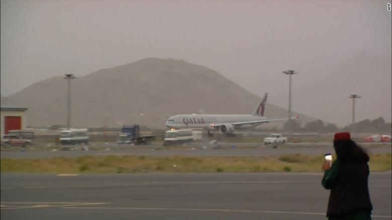 The aircraft takes off from Kabul airport on September 10.