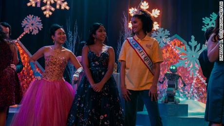 Ramona Young (left to right), Maitreyi Ramakrishnan and Lee Rodriguez star in