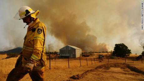 A firefighter in Tumburumba, Australia on January 11, 2020.