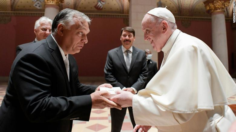 Pope Francis meets Hungary's Viktor Orban during trip
