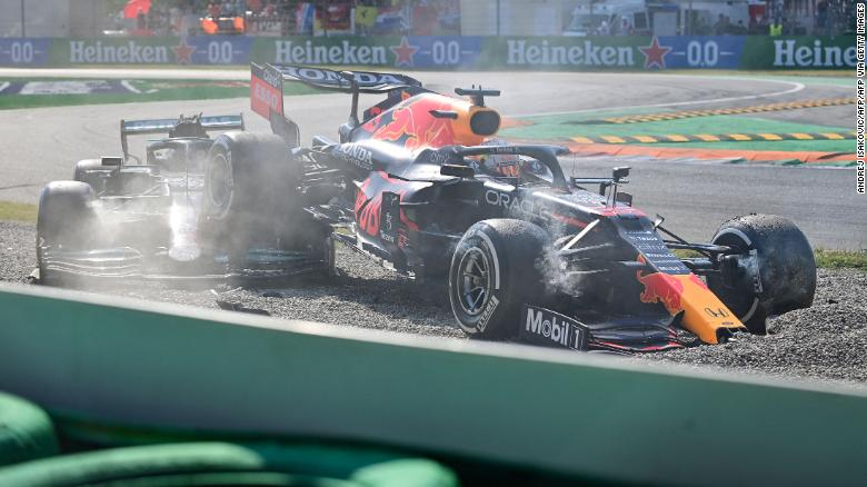 Lewis Hamilton and Max Verstappen collide and are out of drama-filled Italian Grand Prix