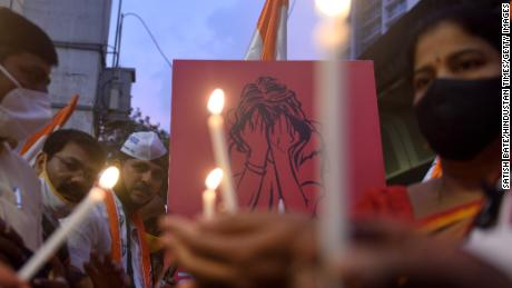 Protesters hold a candle light vigil in Mumbai last year, after the brutal gang-rape of a Dalit woman in the state of Uttar Pradesh on October 2, 2020.