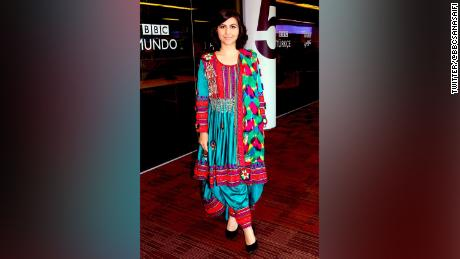 """Sana Safi added: """"If I were in Afghanistan then I would have the scarf on mine head."""""""