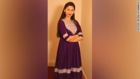 Fereshta Abbasi, an Afghan lawyer, tweeted a photo of her traditional Hazaragi dress.