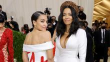 NEW YORK, NEW YORK - SEPTEMBER 13: Alexandria Ocasio-Cortez (L) attends The 2021 Met Gala Celebrating In America: A Lexicon Of Fashion at Metropolitan Museum of Art on September 13, 2021 in New York City. (Photo by Mike Coppola/Getty Images)