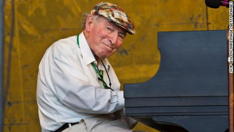 George Wein performs on stage during the 2012 New Orleans Jazz & Heritage Festival.