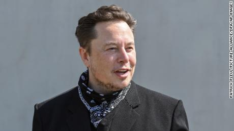 Elon Musk, at a press conference on the grounds of the Tesla Gigafactory on August 13, 2021 in Gr'nheide, Brandenburg, Germany.  The first vehicles will roll off the production line at Gr'nheide, near Berlin, from the end of 2021. The American company plans to build around 500,000 units of the compact Model 3 and Model Y series here each year.