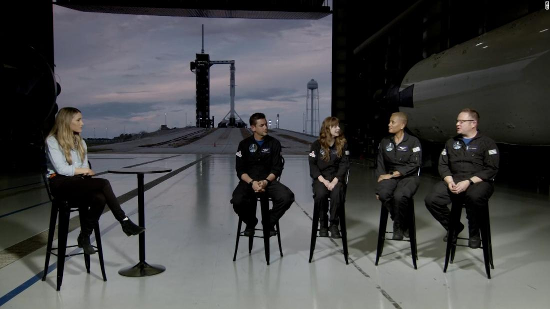 CNN's Rachel Crane sat down with the four space tourists who will take part on a three-day trip into orbit on a SpaceX rocket.  The mission, dubbed Inspiration4, will be the first spaceflight in history to be staffed entirely by non-astronauts.