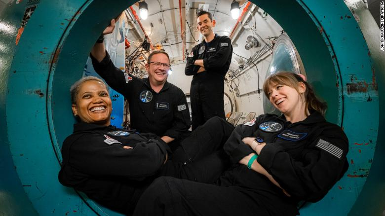 The Inspiration4 crew in an altitude chamber training on July 2, 2021, at Duke Health in Durham, North Carolina.