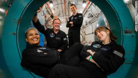 The Inspiration4 crew during an altitude chamber training July 2, 2021 at Duke Health in Durham, North Carolina.