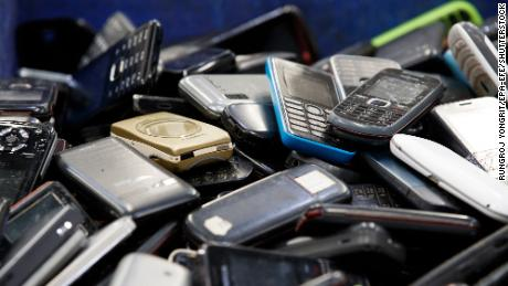 Discarded mobile phones  at the electronic waste recycling plant of Total Environmental Solutions in Thailand in 2020.