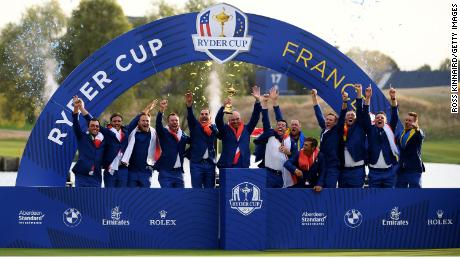 Team Europe celebrates after winning the Ryder Cup 2018.